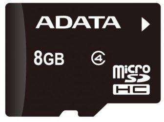 ADATA Memóriakártya MicroSDHC 8GB CL4 AUSDH8GCL4-RA1 SD Card (NEW)
