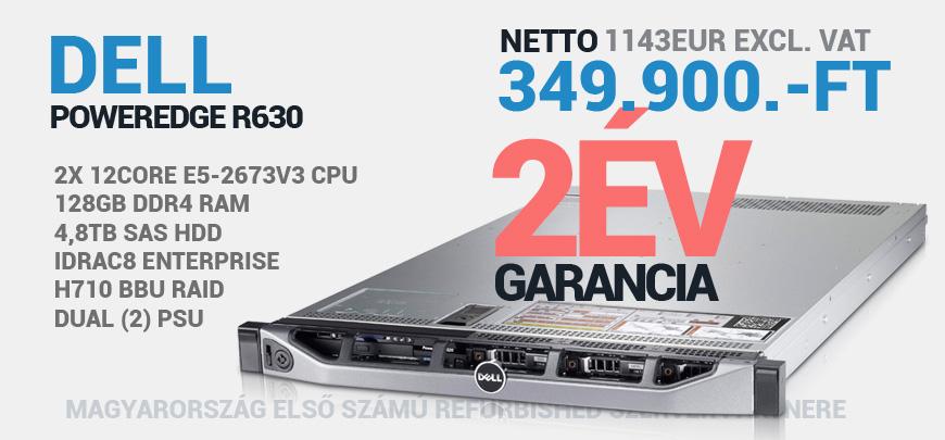 Dell PowerEdge R630 2x Intel Xeon 12Core E5-2673v3 2,4GHz 128GB DDR4 RAM 8SFF Hdd Bay 4,8TB SAS HDD Perc H730 Raid iDrac8 2x 750W PSU